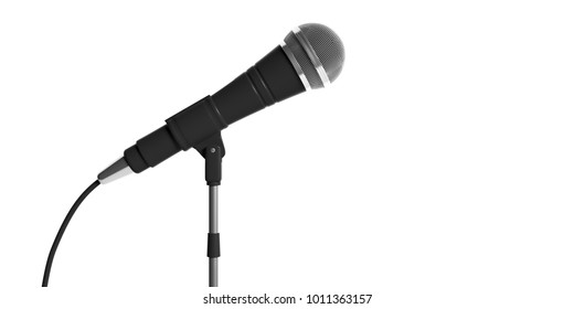 Cable microphone on stand isolated on white background. 3d illustration