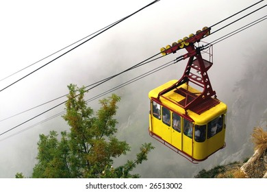 Cable railway in the mountains