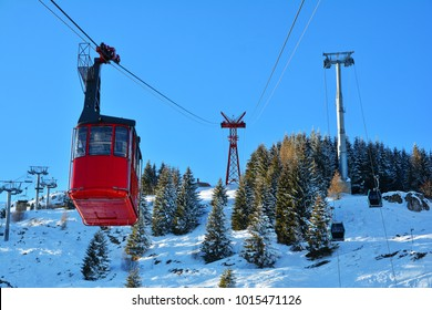 Cable red car transportation at 2000m in Bucegi Mountains, Sinaia, Romania