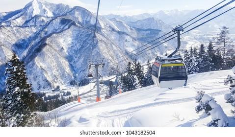 Cable Sky on Snow mountain at  Gala Yuzawa near Tokyo, Japan.
