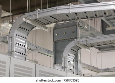 Cable tray and accessories connect with distribution control.