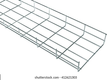 Cable tray of galvanized steel wire for cable runs in isolation on a white background