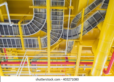 Cable tray and piping construction on site
