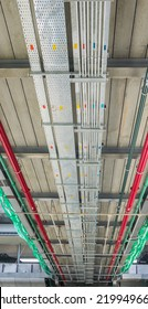 The cable tray and piping construction at site