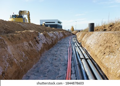 Cable trench in the new industry area
