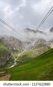 Cable way, sella group, dolomites, italy