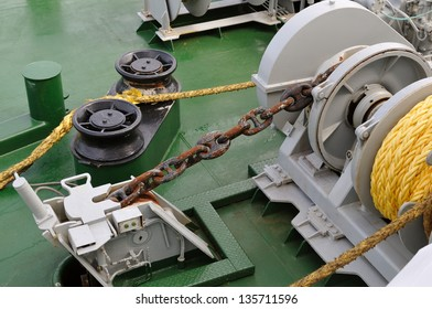 Cable winch on a boat deck