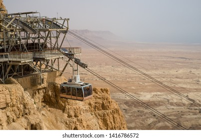 Cablecar at the ancient fortress of Masada in Israel. Masada National Park in the Dead Sea region of Israel.
