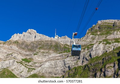 Cablecar running towards Santis (Santis) a famous peak of the Swiss Alps,  Canton of Appenzell, Switzerland