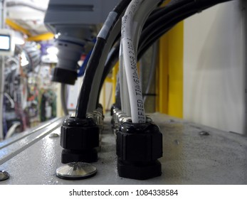 Cables entering a control box at a synchrotron X-ray beamline.