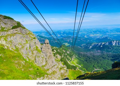 Cables of the funicular over the abyss in the Tatra mountains