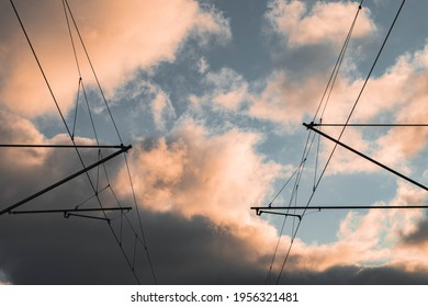 cables of traintracks at sunset