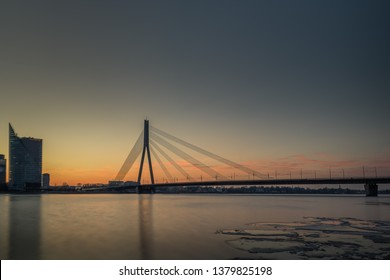 Cable-stayed bridge across Daugava river in Riga.