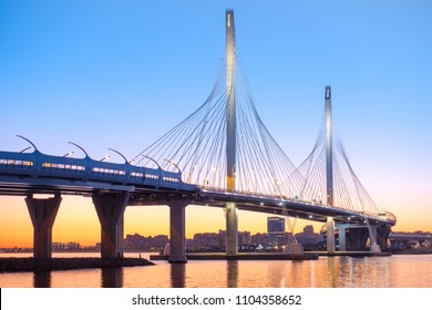 The cable-stayed bridge across the Petrovsky fairway of the western high-speed diameter. St. Petersburg. Russia