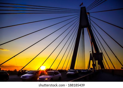 cable-stayed bridge Anzac Bridge in Sydney at sunset with loads of traffics