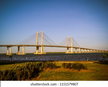 Cable-stayed bridge Constructor Joao Alves under the Sergipe River that separates Aracaju from the headquarters of Barra dos Coqueiros Municipality