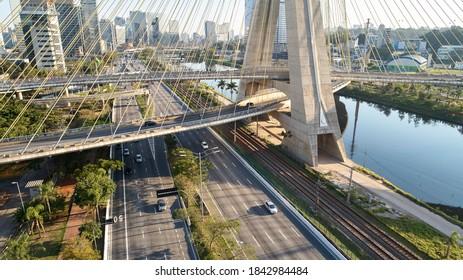Cable-stayed bridge or Estaiada bridge (Ponte Estaiada), over the Pinheiros river and Marginal Pinheiros, at Sao Paulo city. Brazil.