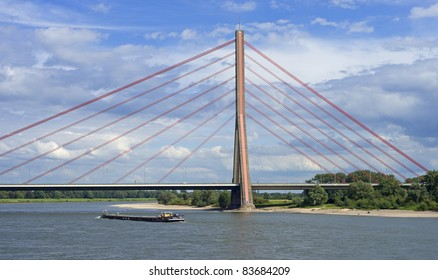 """The cable-stayed bridge """"Fleher"""" at the river Rhine in Dusseldorf in Germany"""