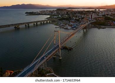 Cable-stayed bridge Hercilio Luz in Florianopolis, Santa Catarina, Brazil.