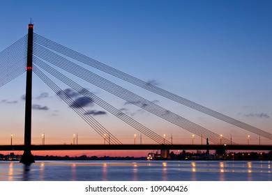 Cable-stayed bridge at night. Riga, Latvia