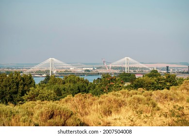 Cable-stayed bridge over Columbia river in Washington State