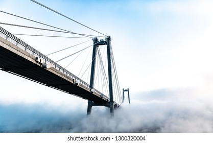 cable-stayed bridge in winter