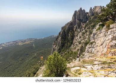 Cableway from Ai Petri mountain, Crimea, Russia