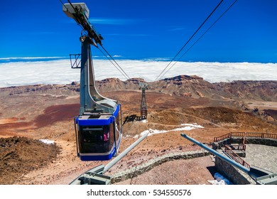 cableway on the volcano Teide in Tenerife, Canary Islands, Spain