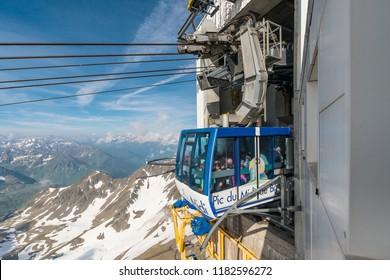Cableway in Pic du Midi de Bigorre, Hautes Pyrenees, France