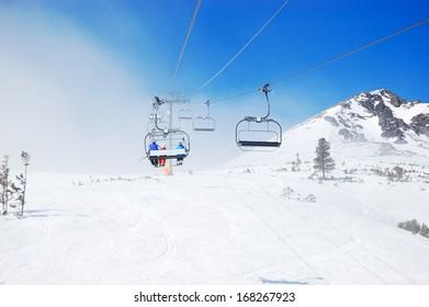 Cableway at popular ski resort in High Tatras Strbske pleso, Slovakia