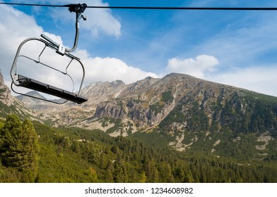 Cableway to station Solisko in High Tatras, Slovakia. High mountains in the background