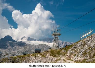 Cableway under the hill of Dachstein in Austria
