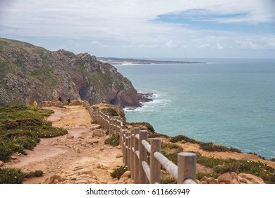 Cabo da Roca (Cape Roca) in Portugal. Beautiful landscape with wooden fence.