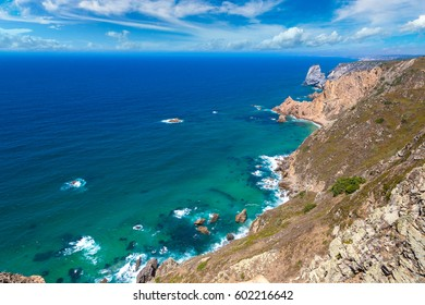 Cabo da Roca. Cliffs and rocks on the Atlantic ocean coast in Sintra in a beautiful summer day, Portugal