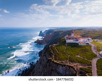Cabo da Roca Lighthouse. Portuguese Farol de Cabo da Roca is most westerly European extent