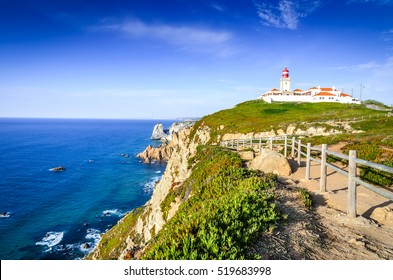 Cabo da Roca, Portugal. Lighthouse and cliffs over Atlantic Ocean, the most westerly point of the European mainland.