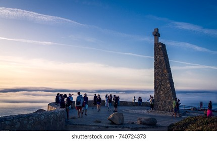 Cabo da Roca, Portugal - September 28, 2017: Cabo da Roca is the famous tourist spot for being the westernmost point of the mainland Europe.