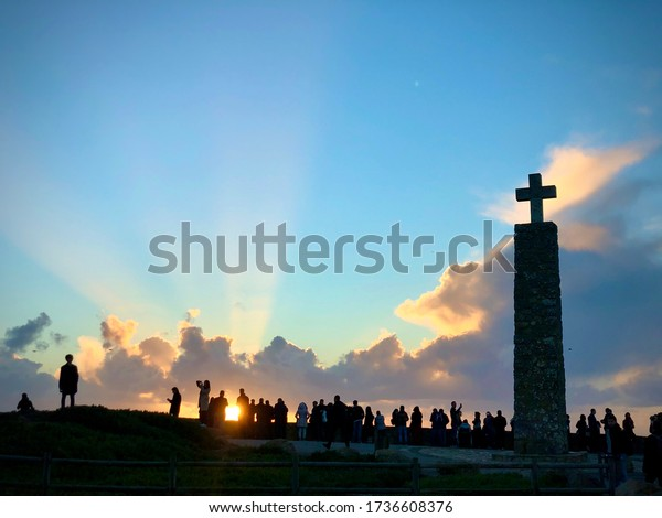 Cabo da Roca, Portugal sunset close shot with lots of people. Taken 21 November 2018
