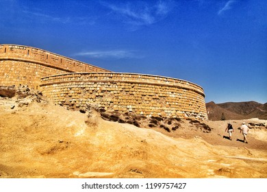Cabo de Gata, Almeria, Spain- September 23, 2018:Beautiful fortification built on fossilized dune in Cabo de Gata, Almeria, Spain