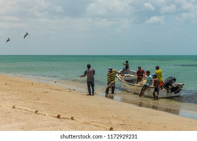 Cabo de la vela, La Guajira, Colombia. April 2018. A view of fisherman on the Caribbean beach in Cabo de la Vela in Colombia