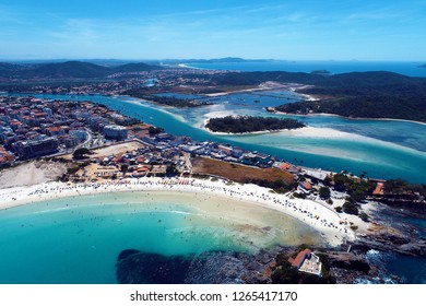 Cabo Frio, Brazil: Aerial view of a paradise sea with clear water. Fantastic landscape. Great beach view