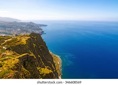 Cabo Girao, Madeira. View from the highest cliff of Europe towards Funchal