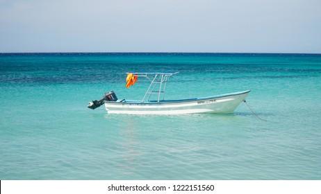 Cabo Rojo / Dominican Republic - December 2016: Motor Boat in Caribbean Sea near Bahia de las Aguilas