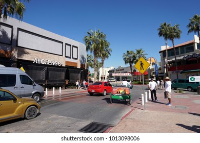 CABO SAN LUCAS, MEXICO - JANUARY 25 2018 - Pacific coast mexican baja california small town is crowded of tourist for the humpback whale season.