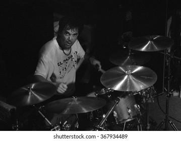 CABO SAN LUCASOCTOBER 98:Drummer David Lauser performs Circa October 1998 at the Cabo Wabo Cantina in Cabo San Lucas, Mexico.