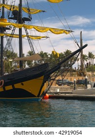 """Cabo San Lucas """"pirate"""" ship at dock awaiting tourists.  Not all of the pirates are on board this vessel as they seek treasure in many different ways"""