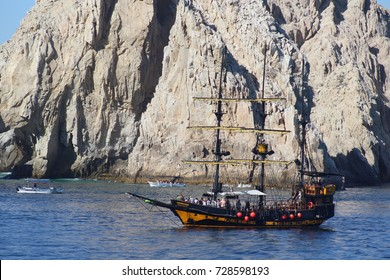 Cabo San Lucas/MX: March 17, 2017 – Whale watching expedition sail boat full of tourists