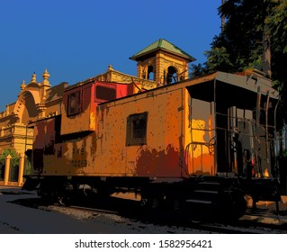 Caboose at the end of line in Chapal, Jalisco,  Mexico. The original railway operated 1920-26 complete with the ornate station seen in the background  A new line was announced in June, 2019.