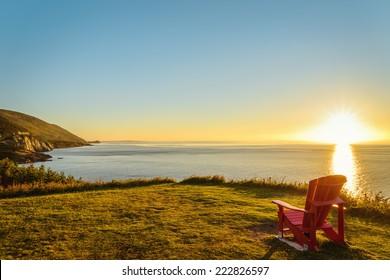 Cabot Trail at sunset (Cape Breton, Nova Scotia, Canada)