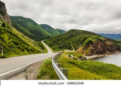 The Cabot Trail winds it's way around the coast of Cape Breton Island in Nova Scotia Canada.